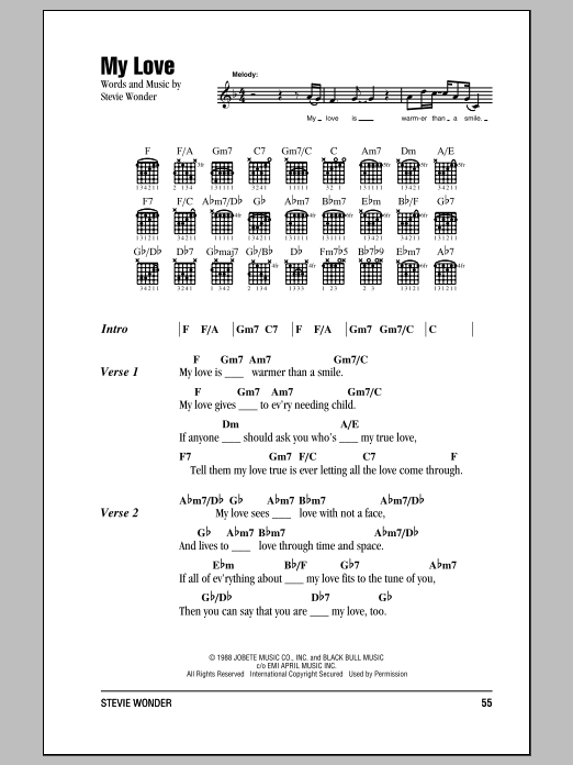 Stevie Wonder My Love sheet music notes and chords. Download Printable PDF.