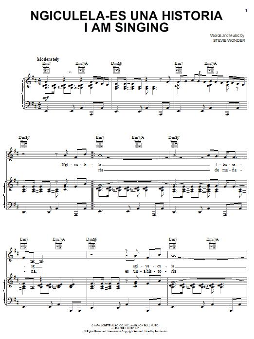 Stevie Wonder Ngiculela-Es Una Historia I Am Singing sheet music notes and chords