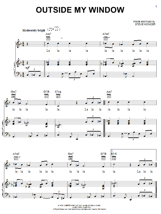 Stevie Wonder Outside My Window sheet music notes and chords. Download Printable PDF.