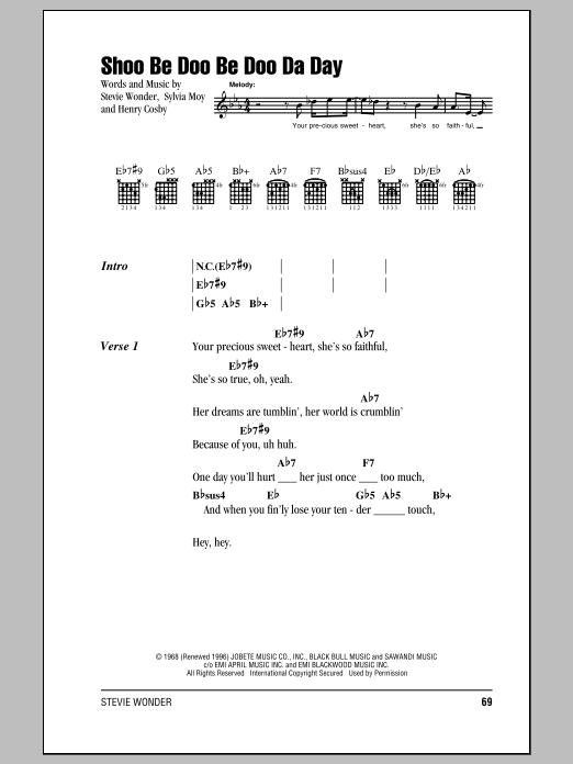 Stevie Wonder Shoo Be Doo Be Doo Da Day sheet music notes and chords. Download Printable PDF.