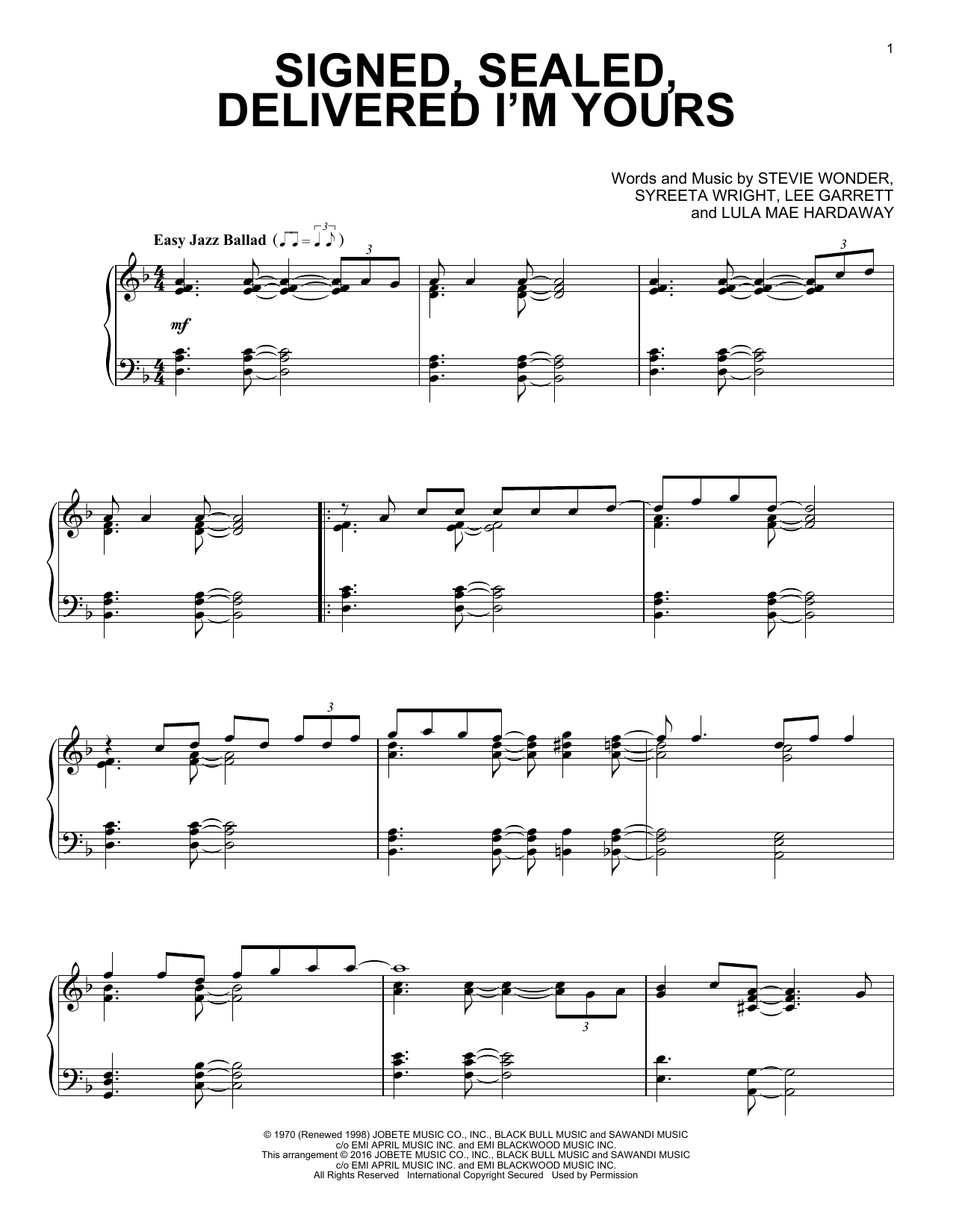 Stevie Wonder Signed, Sealed, Delivered I'm Yours [Jazz version] sheet music notes and chords. Download Printable PDF.