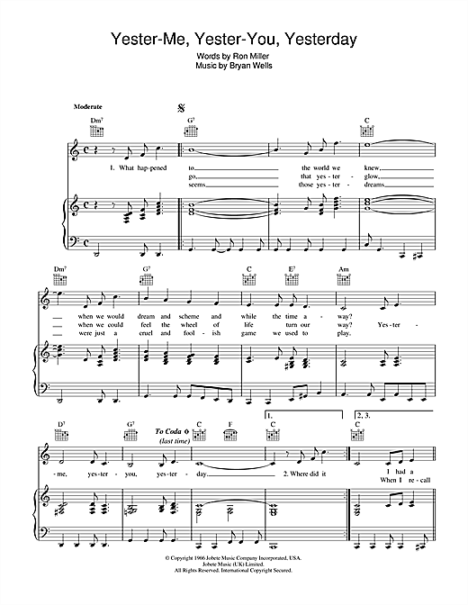 Stevie Wonder Yester-Me, Yester-You, Yesterday sheet music notes and chords. Download Printable PDF.