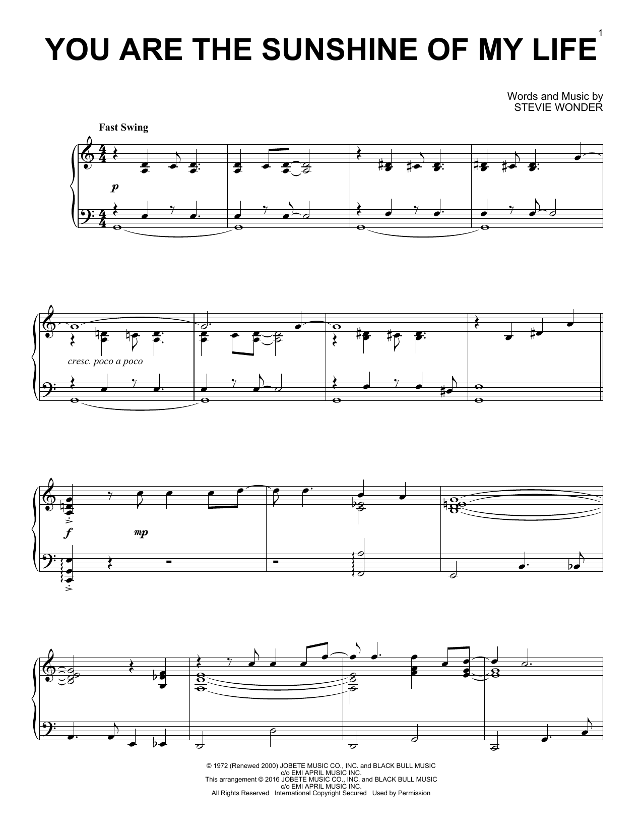 Stevie Wonder You Are The Sunshine Of My Life [Jazz version] sheet music notes and chords. Download Printable PDF.