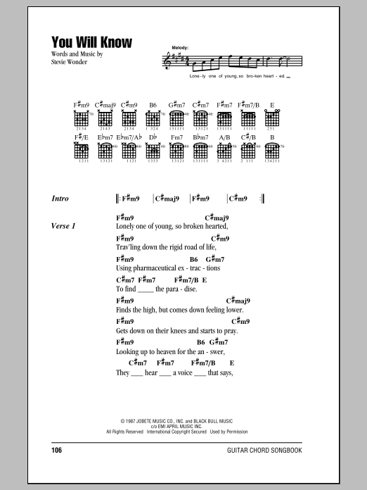 Stevie Wonder You Will Know sheet music notes and chords. Download Printable PDF.