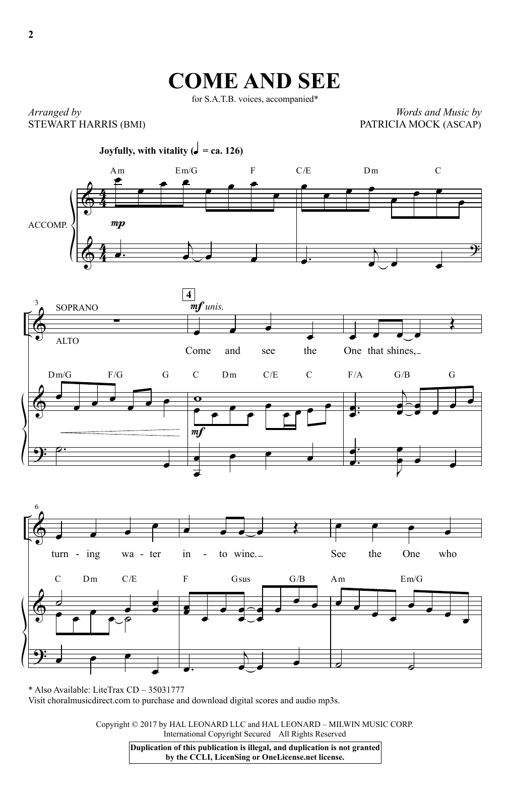 Stewart Harris Come And See sheet music notes and chords. Download Printable PDF.