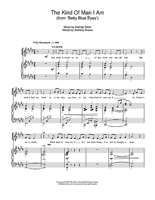 Stiles & Drewe The Kind Of Man I Am (From 'Betty Blue Eyes') sheet music notes and chords