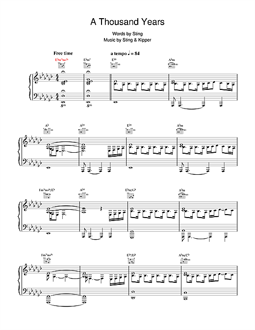 Sting A Thousand Years sheet music notes and chords