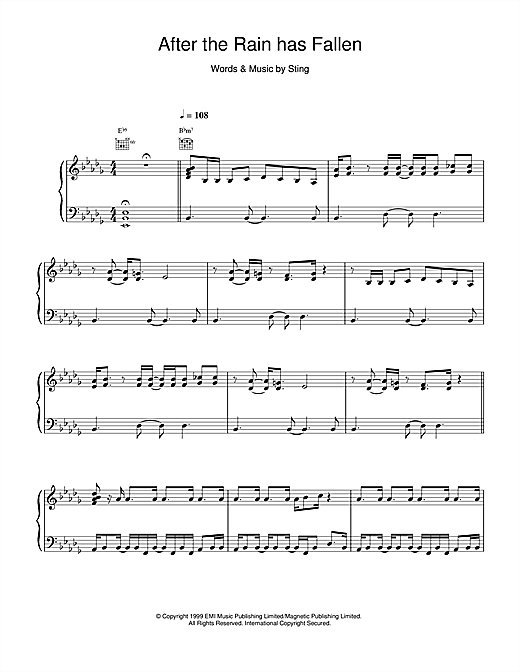 Sting After The Rain Has Fallen sheet music notes and chords. Download Printable PDF.