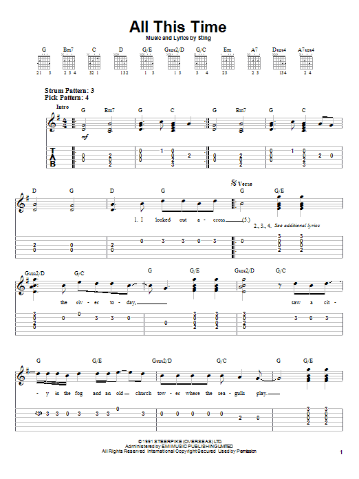 Sting All This Time sheet music notes and chords. Download Printable PDF.