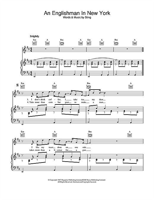 Sting An Englishman In New York sheet music notes and chords. Download Printable PDF.