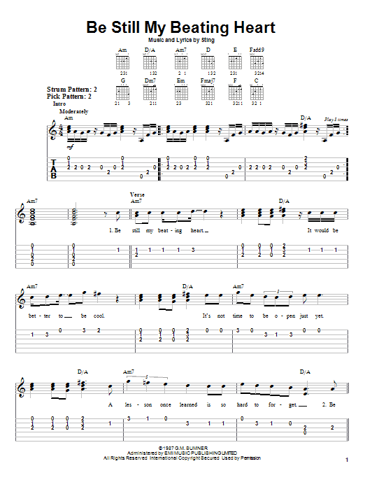 Sting Be Still My Beating Heart sheet music notes and chords. Download Printable PDF.