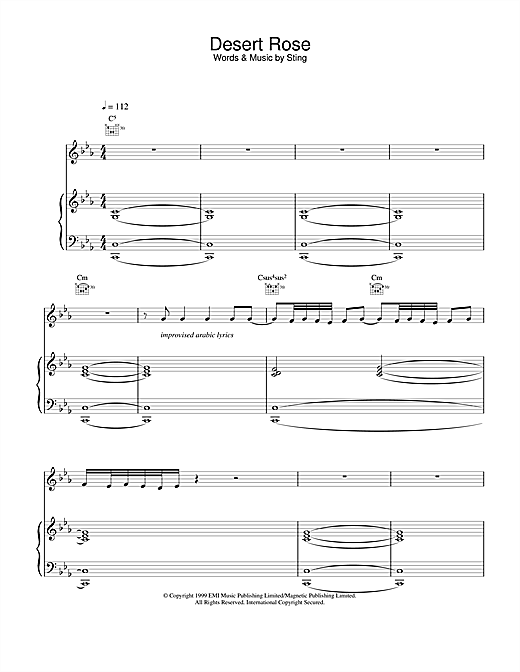 Sting Desert Rose sheet music notes and chords. Download Printable PDF.