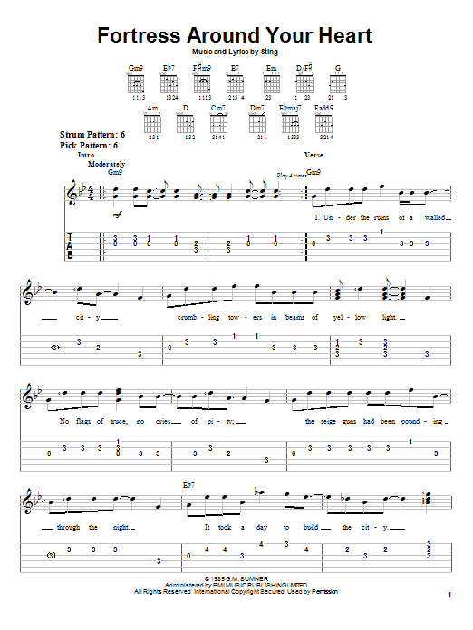 Sting Fortress Around Your Heart sheet music notes and chords. Download Printable PDF.