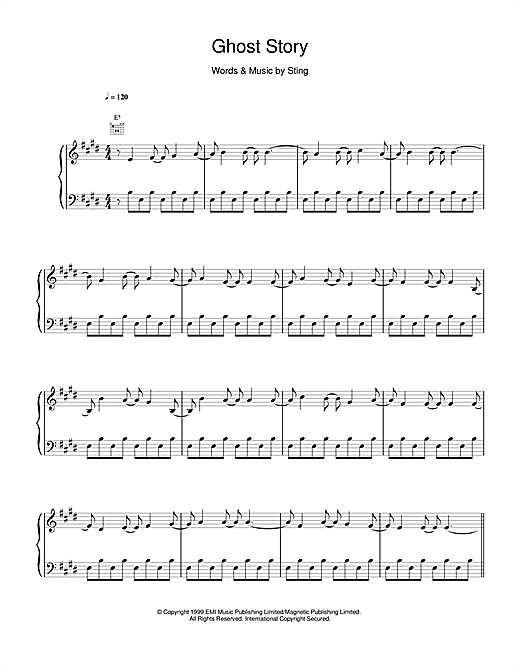 Sting Ghost Story sheet music notes and chords