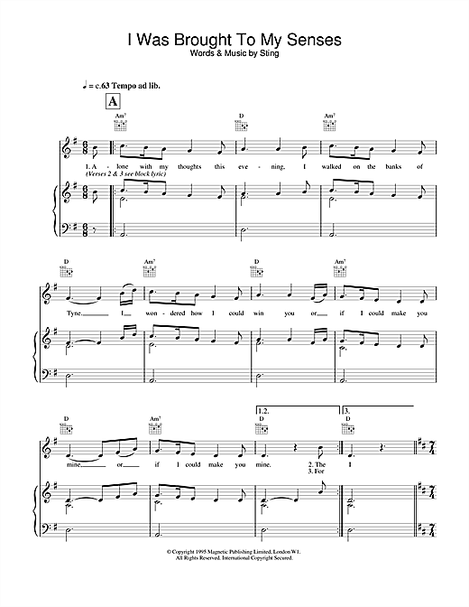Sting I Was Brought To My Senses sheet music notes and chords. Download Printable PDF.