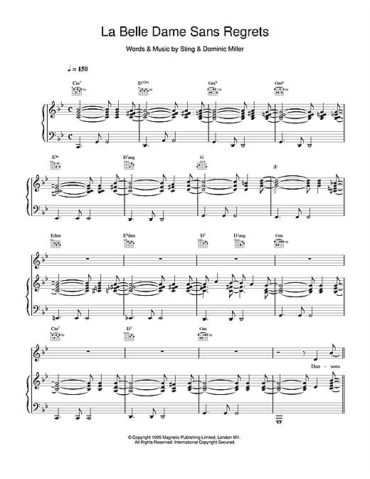 Sting La Belle Dame Sans Regrets sheet music notes and chords