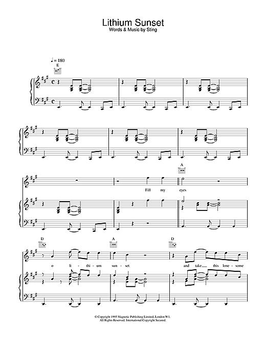 Sting Lithium Sunset sheet music notes and chords. Download Printable PDF.
