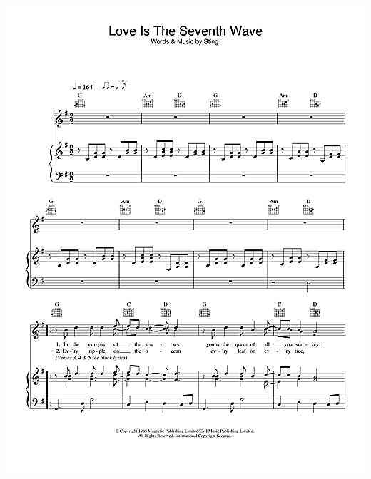 Sting Love Is The Seventh Wave sheet music notes and chords. Download Printable PDF.