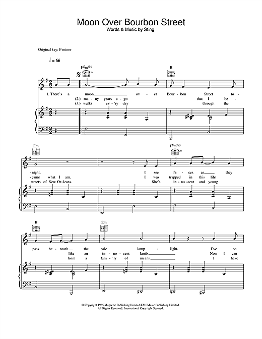 Sting 'Moon Over Bourbon Street' Sheet Music Notes, Chords | Download  Printable Piano, Vocal & Guitar (Right-Hand Melody) - SKU: 89295
