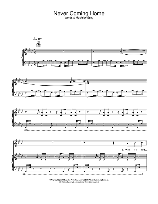 Sting Never Coming Home sheet music notes and chords. Download Printable PDF.