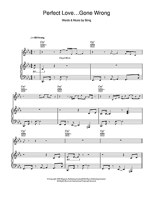 Sting Perfect Love Gone Wrong sheet music notes and chords. Download Printable PDF.
