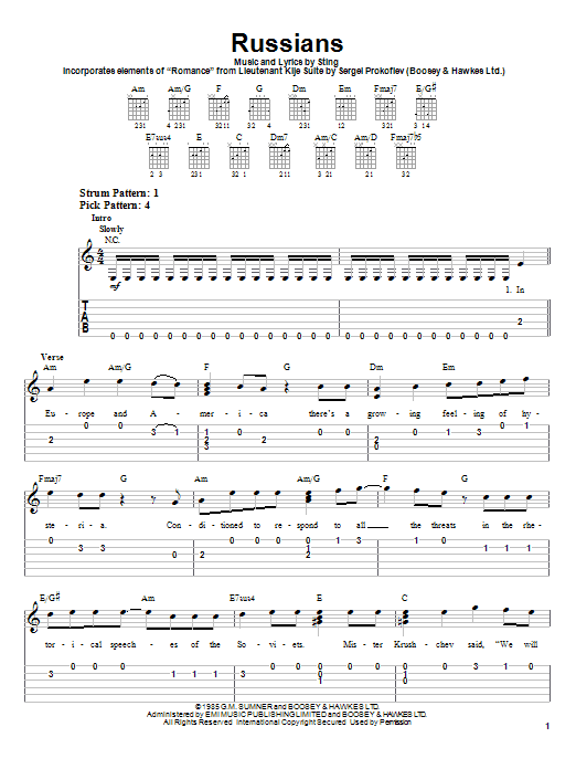 Sting Russians sheet music notes and chords. Download Printable PDF.