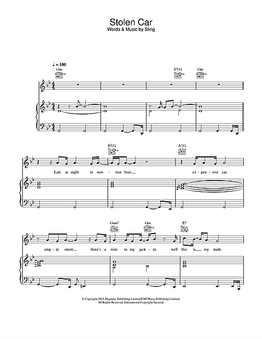 Sting Stolen Car sheet music notes and chords. Download Printable PDF.