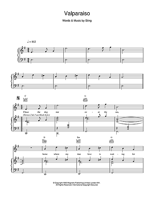Sting Valparaiso sheet music notes and chords