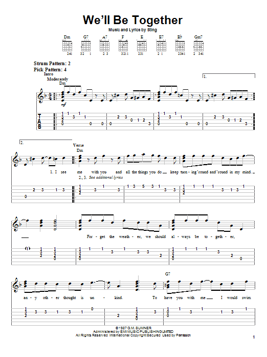 Sting We'll Be Together sheet music notes and chords. Download Printable PDF.