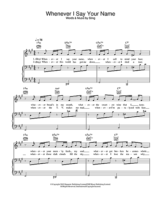Sting Whenever I Say Your Name sheet music notes and chords. Download Printable PDF.