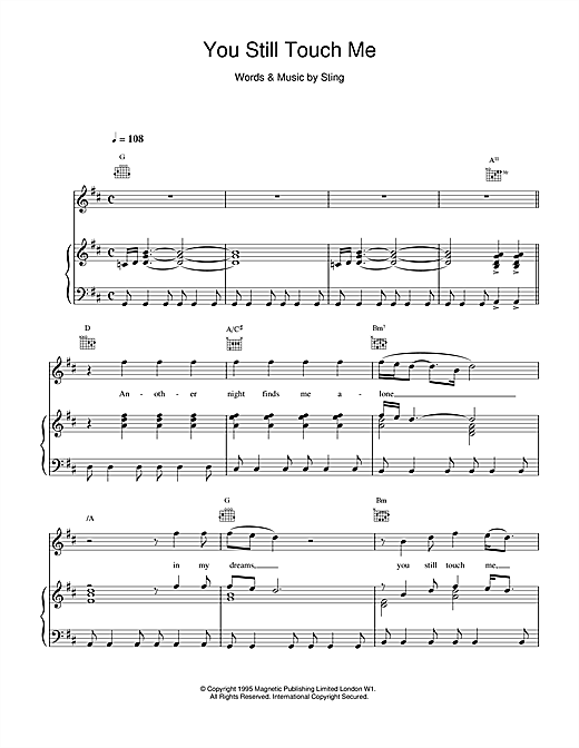 Sting You Still Touch Me sheet music notes and chords. Download Printable PDF.