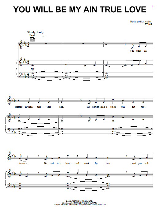Sting You Will Be My Ain True Love sheet music notes and chords. Download Printable PDF.