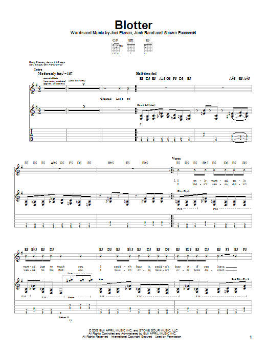 Stone Sour Blotter sheet music notes and chords. Download Printable PDF.
