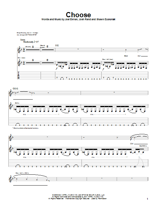 Stone Sour Choose sheet music notes and chords. Download Printable PDF.