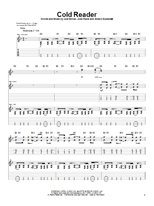 Stone Sour Cold Reader sheet music notes and chords. Download Printable PDF.
