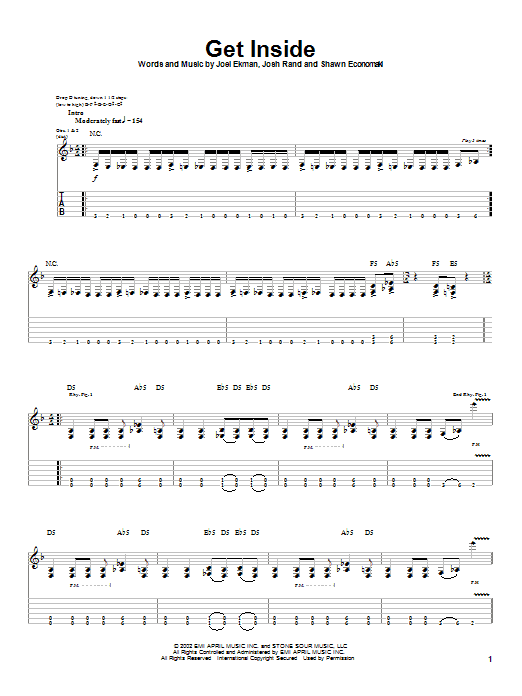 Stone Sour Get Inside sheet music notes and chords. Download Printable PDF.