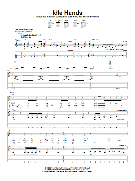Stone Sour Idle Hands sheet music notes and chords. Download Printable PDF.