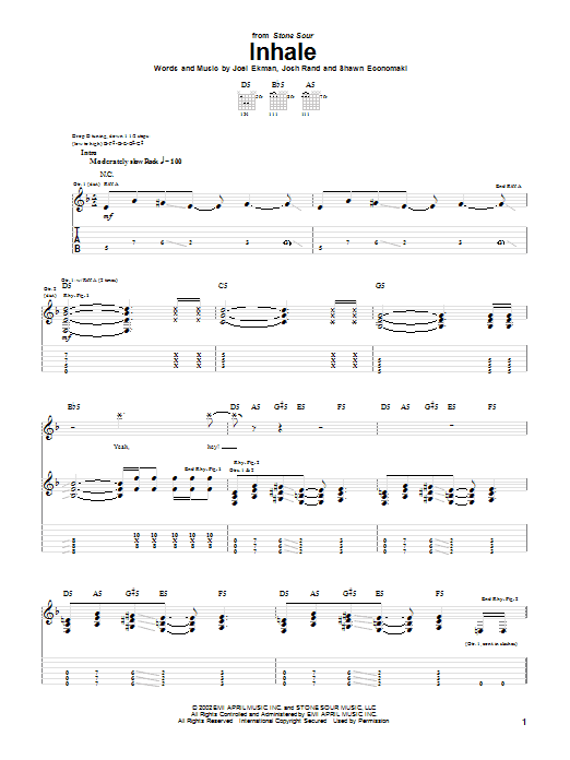 Stone Sour Inhale sheet music notes and chords. Download Printable PDF.