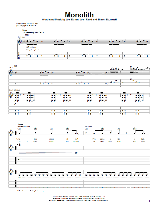 Stone Sour Monolith sheet music notes and chords. Download Printable PDF.