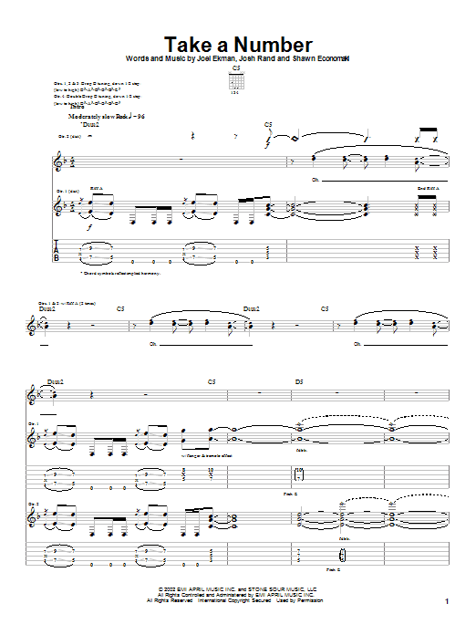 Stone Sour Take A Number sheet music notes and chords