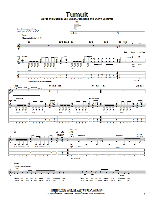 Stone Sour Tumult sheet music notes and chords. Download Printable PDF.