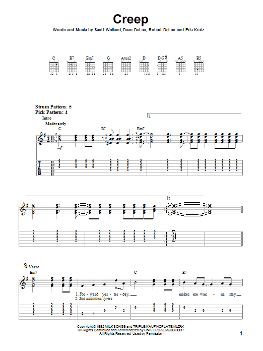 Stone Temple Pilots Creep sheet music notes and chords. Download Printable PDF.