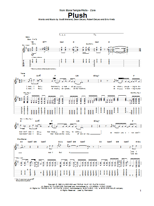 Stone Temple Pilots Plush sheet music notes and chords. Download Printable PDF.