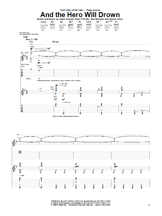 Story Of The Year And The Hero Will Drown sheet music notes and chords. Download Printable PDF.