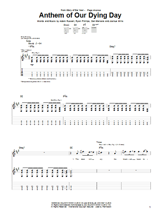 Story Of The Year Anthem Of Our Dying Day sheet music notes and chords. Download Printable PDF.