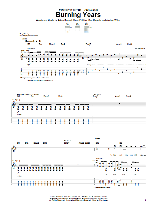 Story Of The Year Burning Years sheet music notes and chords. Download Printable PDF.