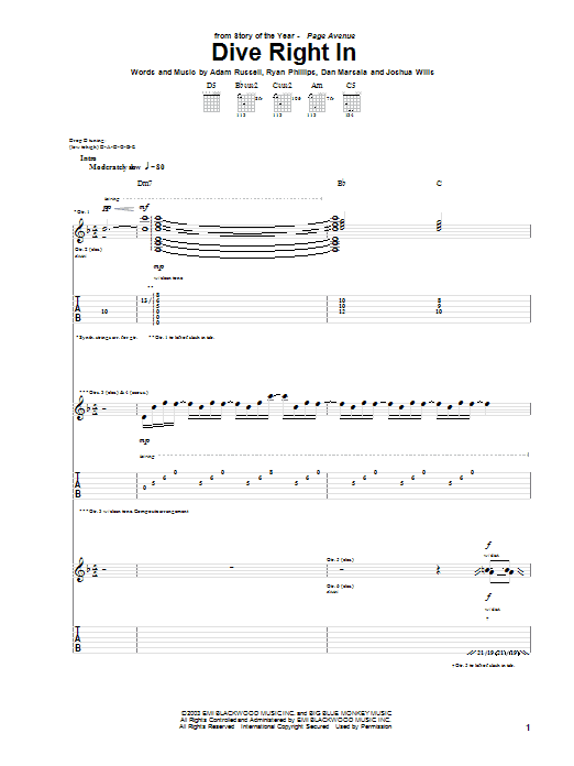Story Of The Year Dive Right In sheet music notes and chords. Download Printable PDF.