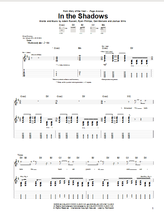Story Of The Year In The Shadows sheet music notes and chords. Download Printable PDF.