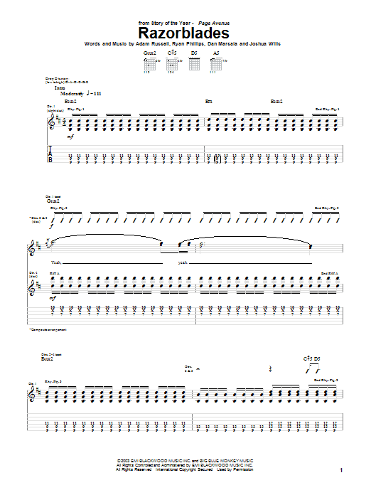Story Of The Year Razorblades sheet music notes and chords. Download Printable PDF.