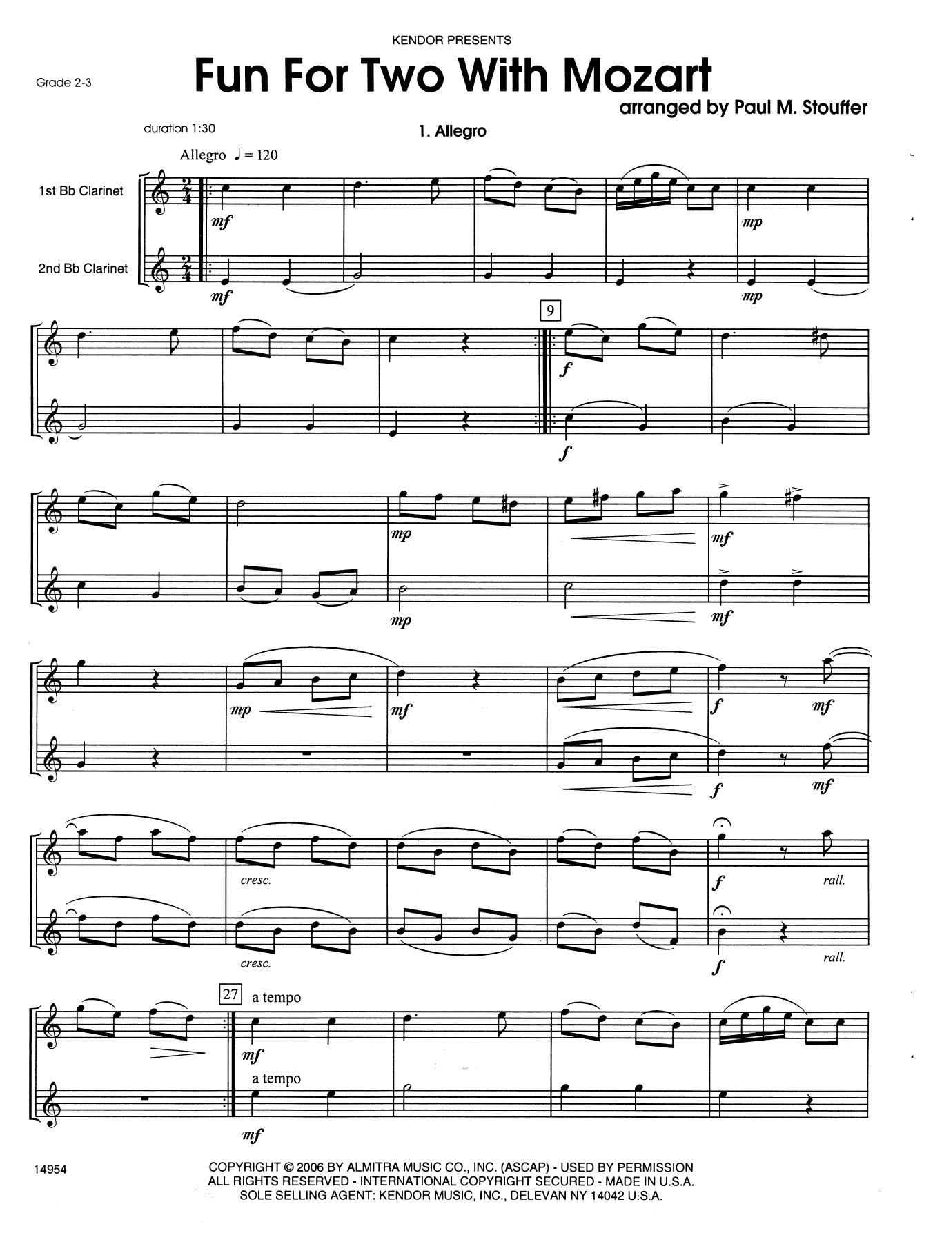 Stouffer Fun For Two With Mozart sheet music notes and chords. Download Printable PDF.